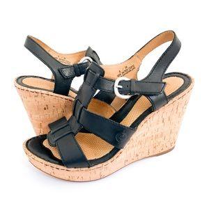 Born Leather Strap & Cork Platform Wedge Sandals 8